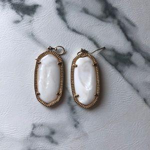 White and Gold Kendra Scott Elle Earrings